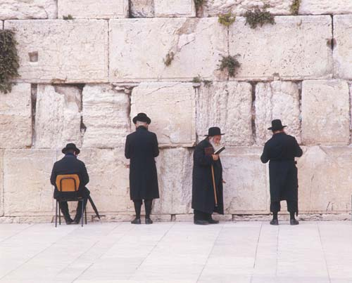 Orthodox Jews praying in front of the Western wall, Jerusalem, Israel