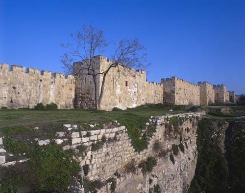 City wall north of Lions Gate, Jerusalem, Israel
