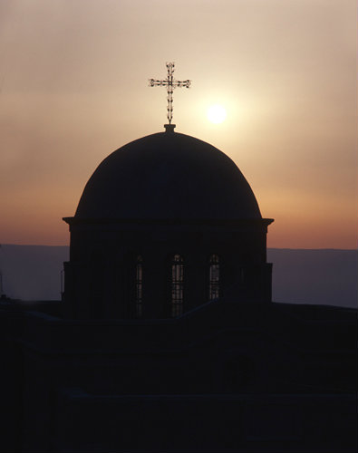 Israel, Bethany, Dome of Church at sunrise