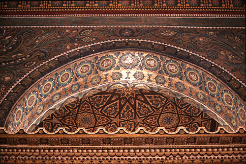 Israel, Jerusalem, the Dome of the Rock, detail of the ornamental mosaics decorating the arches