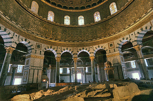 Israel Jerusalem The Dome Of The Rock Interior With The