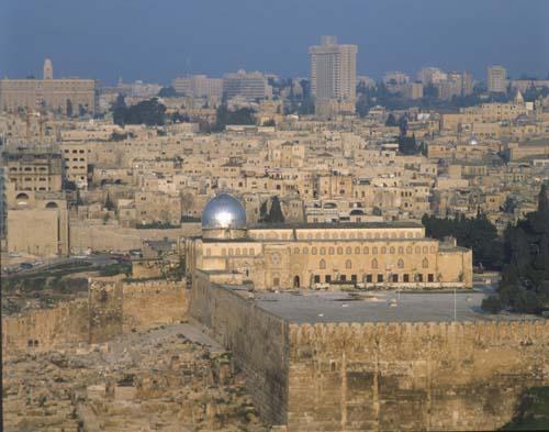 El Aksa Mosque and city wall, Jerusalem, Israel