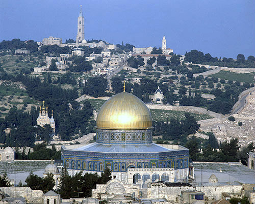 Israel, Jerusalem, the Dome of the Rock and Mount of Olives with the Tower of the Ascension