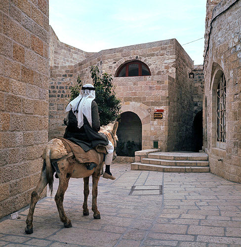 Israel, Jerusalem, Arab on a donkey in the old city