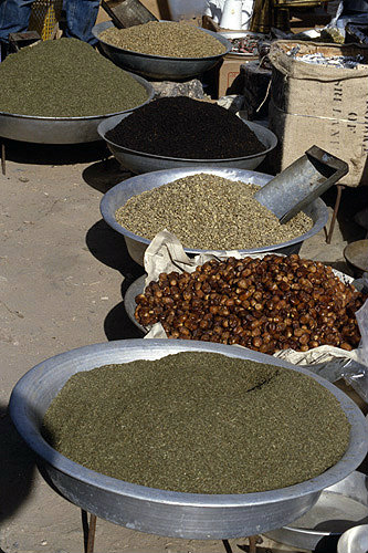 Israel, Beersheva, market, bowls of tea, dates and nuts