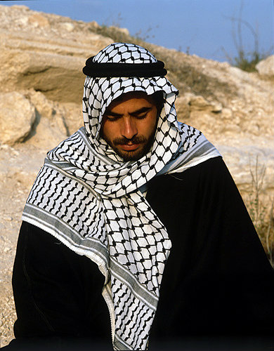 Israel, young Arab dressed in  traditional costume, south west of Jerusalem
