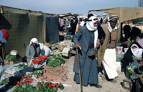 Israel, Beersheva, market, Arab selling vegetables
