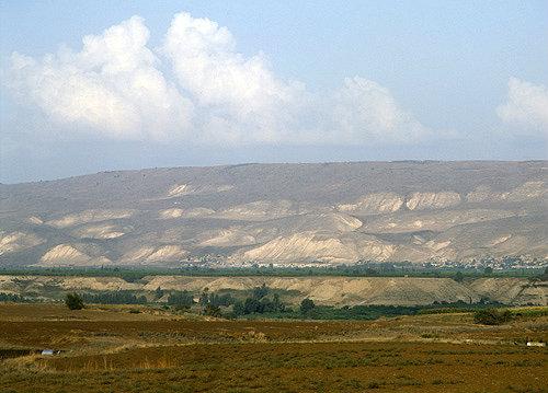 Israel, the Mountains of Gilead in Jordan seen across the Jordan Valley