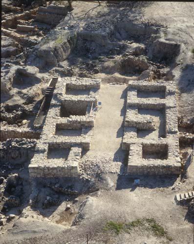 Hazor Tel, 10th century BC multi-chambered Solomonic gate, aerial view, Israel