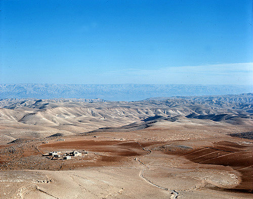 Israel, view looking south east across the Judean Desert towards the Dead Sea and the Hills of Moab in Jordan