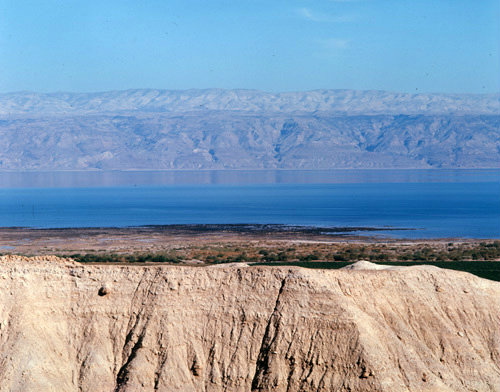 Israel, the Dead Sea looking east to the Hills of Moab in Jordan