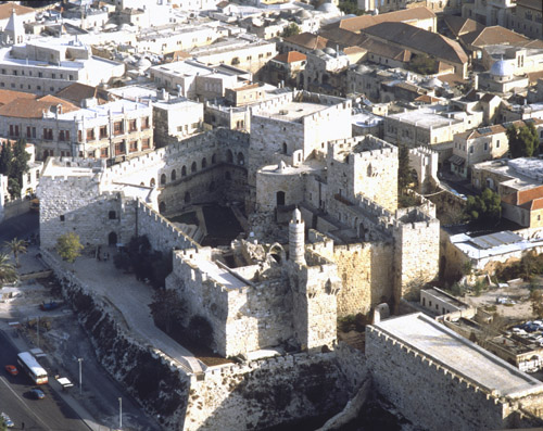 Citadel of Jerusalem and the tower of David, aerial view, Jerusalem, Israel