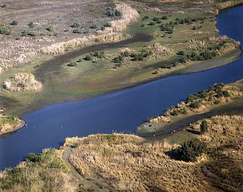 Israel, aerial view of the River Jordan north of Galilee