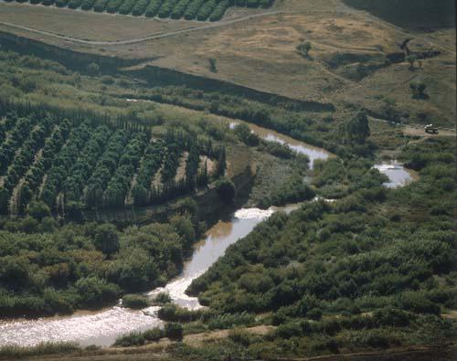 River Jordan, (Hebrew ha Yarden), south of Galilee, aerial view, Israel