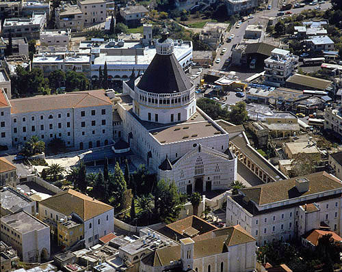 Israel, aerial view of Nazareth from the Church of the Annunciation from the south west