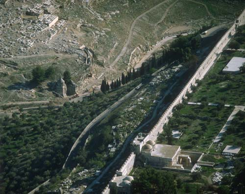 Tomb of Absolom, and the bricked-up Golden Gate in the city walls, aerial view, Kidron Valley, Israel