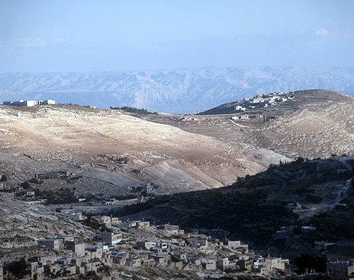 Israel, Jerusalem, Siwan village across Kidron Valley, behind, hills of Moab in Jordan across the Dead Sea
