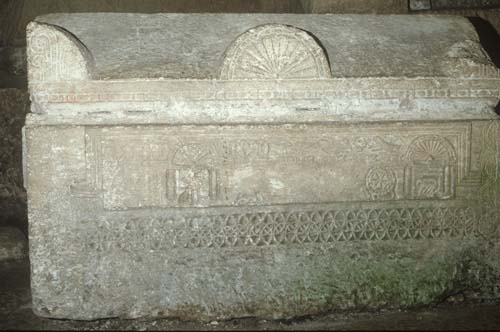 Jewish sarcophagus, with relief sculpture of the Ark of the Covenant, Catacombs, Beth Shearim (Besena), Israel