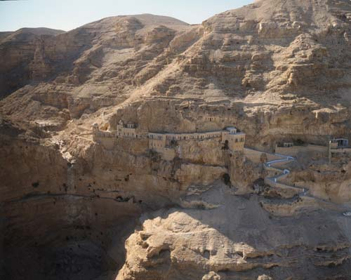 Monastery of Temptation, NW of Jericho, aerial view, Israel