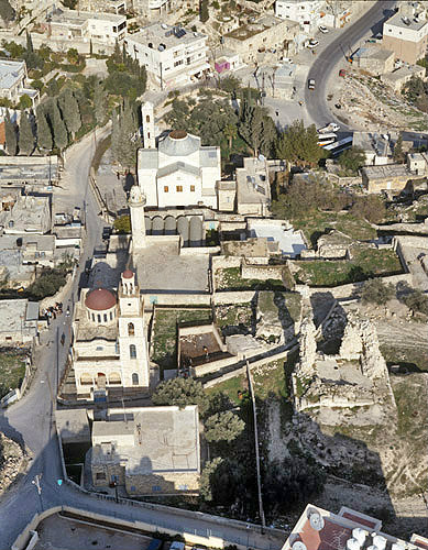 Israel, Bethany aerial view of St Lazarus, Martha and Mary