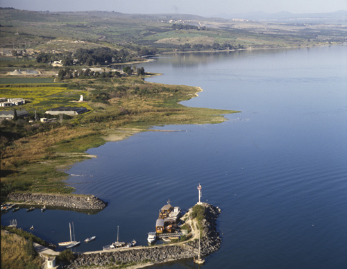Fishing harbour west of Capernaum, aerial view, Galilee, Israel