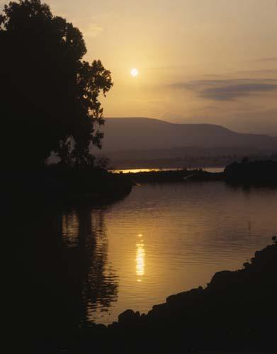 Jordan River, at sunrise, Galilee, Israel