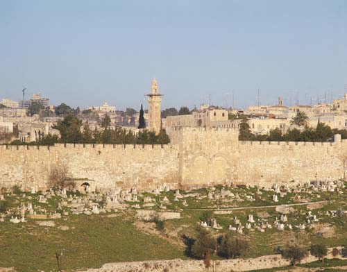 City wall and Golden Gate, blocked, early morning light, Jerusalem, Israel