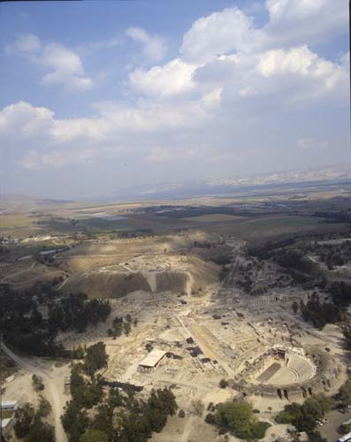 Beth Shean, aerial longshot looking north east with Jordan beyond, Israel