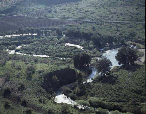 River Jordan, aerial view, Upper Galilee, Israel