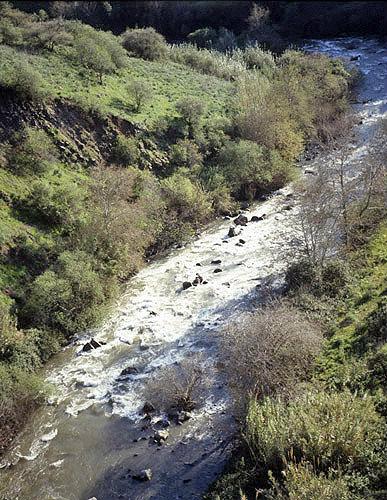 Israel, Upper Galilee, aerial view of River Jordan