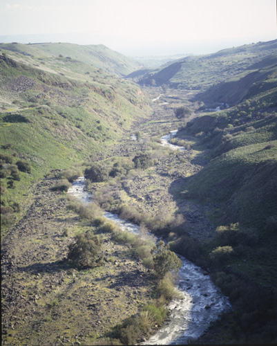 River Jordan, aerial view looking south, upper Galilee, Israel
