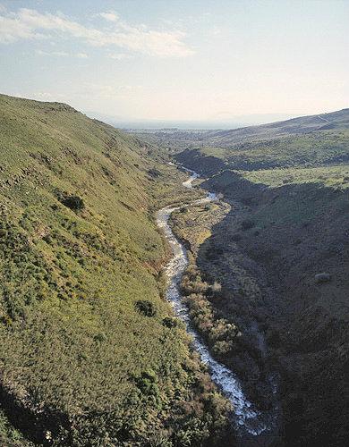 Israel, Upper Galilee, aerial view of the Jordan River