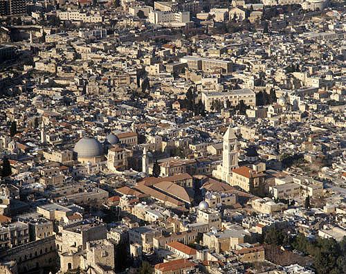 Israel, Bethany (El Azariye) aerial view of St Lazarus