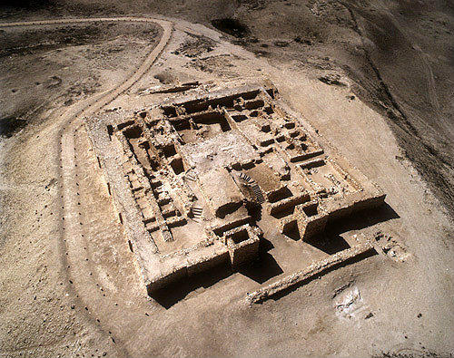 Israel, Tel Arad, in the Negev, aerial view of eighth to seventh century BC Israelite citadel and temple from the east