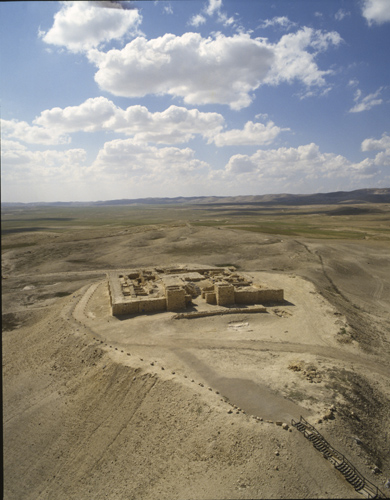 Tel Arad citadel and temple, aerial shot from the east, Israel