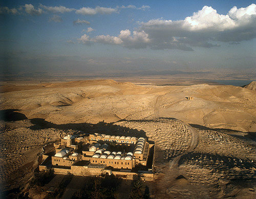 Israel, Nebi Musa, founded 13th century, extended 15th century, restored 19th century, Islamic mosque, surrounded by Bedouin burial ground, Judean desert, aerial view