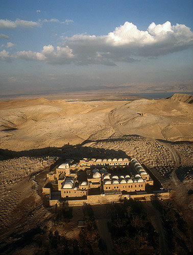 Israel, Nebi Musa, founded 13th century, extended 15th century, restored 19th century, Islamic mosque in Judean desert, surrounded by Bedouin burial ground, aerial view