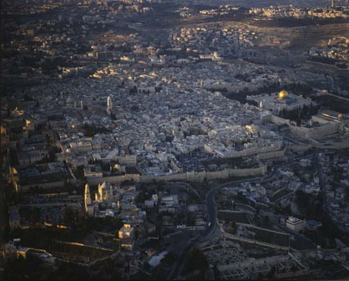 Dormition Abbey, Tower of the Redeemer, Dome of the Rock and El Aksa mosque, aerial view from south, Jerusalem, Israel