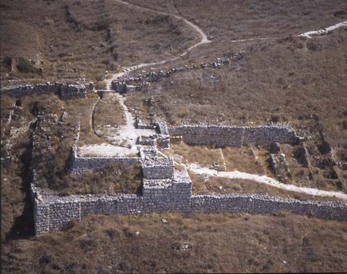 Assyrian siege ramp and gate house, aerial view, Lachish, Israel