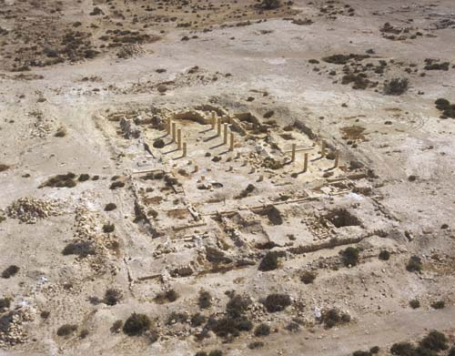 South church, south east of the Acropolis, aerial view, Nizzana, Israel