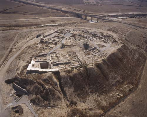 Ancient city of the Holy Land, Beersheva Tel, showing water cistern, aerial view from north west, Negev, Israel