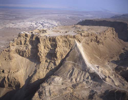 Masada, aerial view from east with ramp, Israel