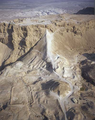 Masada and Roman ramp from the west, one of the Roman camps on left of ramp,  aerial view, Israel