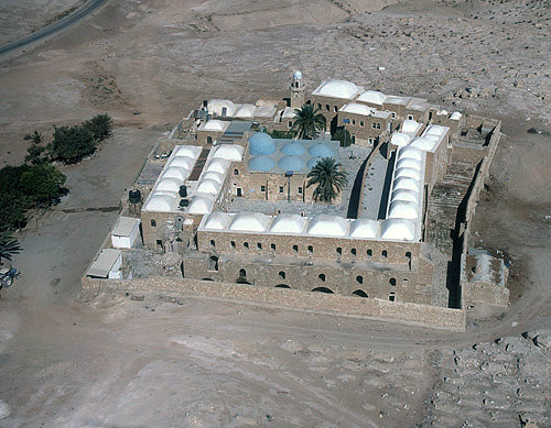 Israel, Nebi Musa, founded 13th century, extended 15th century, restored 19th century, Islamic mosque, aerial view from the south