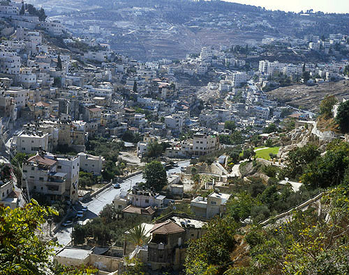 Israel, Jerusalem, looking south down the Kidron Valley to the Village of Silwan