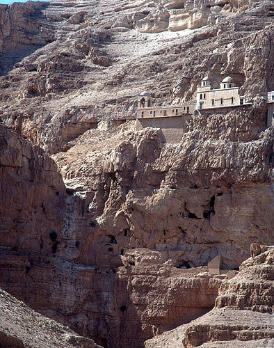 Israel, Jericho, the Monastery of Temptation, occupied by the Greek Orthodox Church since 1874, with caves below
