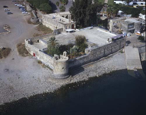 Ancient walls, Tiberias, Galillee, aerial view, Israel,
