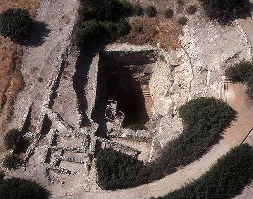 Israel, Hazor Tel, aerial view of eighth century BC water system