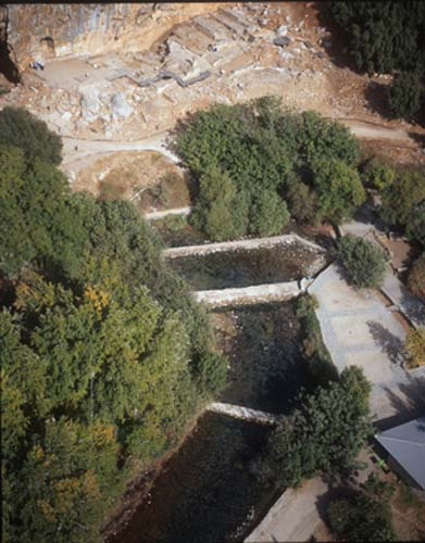 Source of river Jordan in front of sanctuary to Pan, aerial view, Caesarea Philippi (Banias), Israel