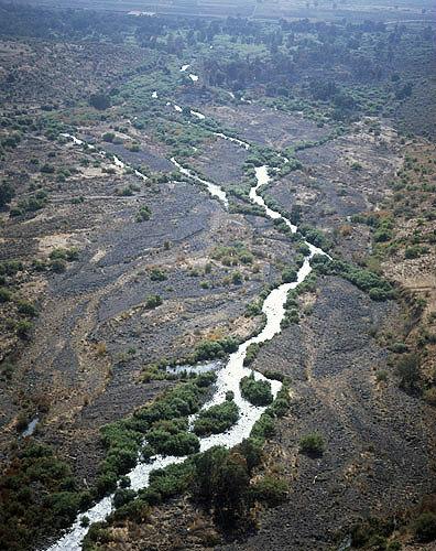 Israel, aerial view of the Jordan looking south towards Galilee